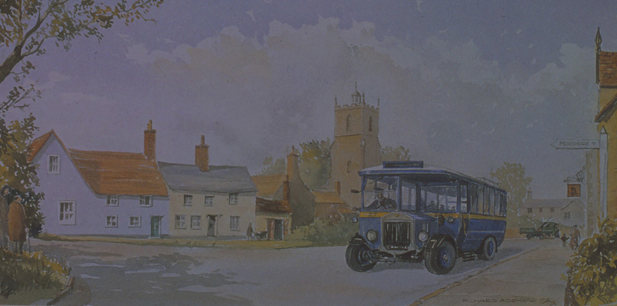 Pershore. Vintage bus in Village scene