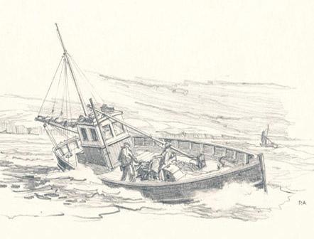 Cornish Fishing Boat. Pencil Sketch
