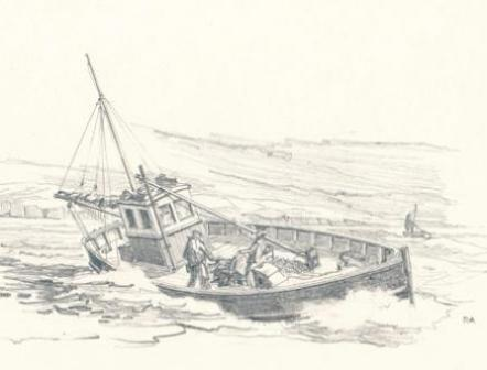 Cornish Fishing Boat 1950 sketch