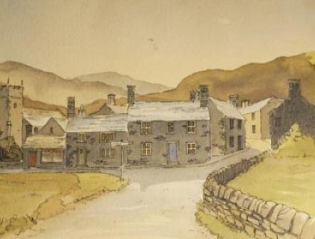 Part of a watercolour of the Village of Bickleton
