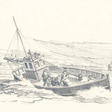 Pencil sketch of a Cornish fishing boat