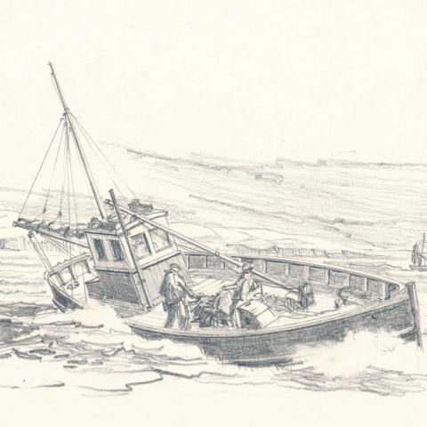 Pencil sketch of a Cornish fishing boat