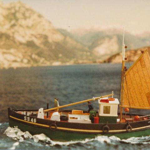 Cornish Lugger circa 1955. Model length 3 inches.