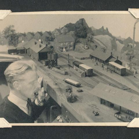 Richards first large indoor layout. Photo 1951.