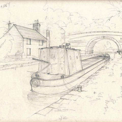 Narrow Boat, Canal bridge.