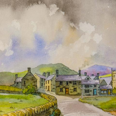 English Village, Richard Adshead, watercolour, watercolor,